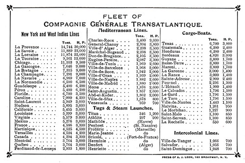 Fleet List, CGT French Line July 1909