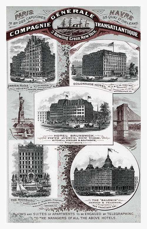 Beautiful Graphics in This Vintage 1887 Advertisement for Rooms and Suites of Apartments in Paris, Le Havre, New York, San Francisco, and Chicago.