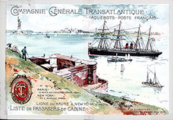 Front Cover, CGT French Line SS La Bretagne Cabin Class Passenger List - 18 October 1890.