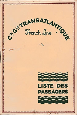 Front Cover, SS Lafayette Passenger List - 10 September 1931
