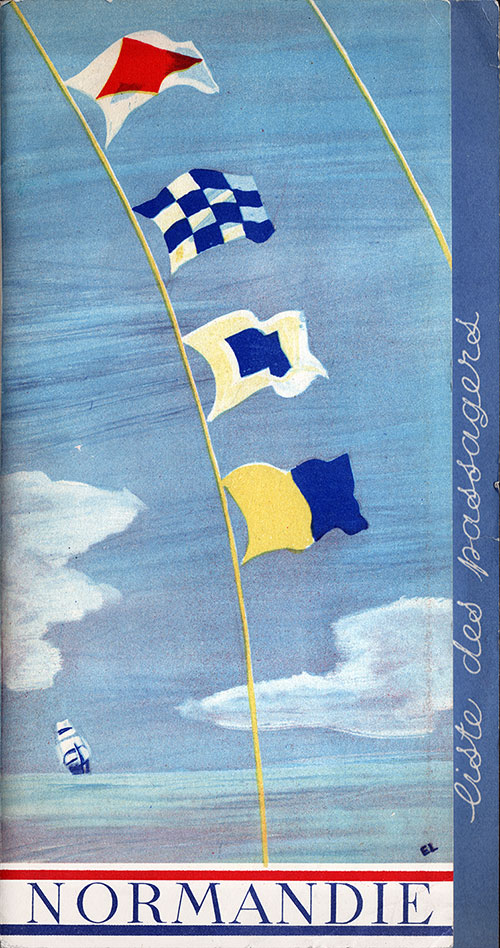 Front Cover, S.S. Normandie Passenger List 3 November 1937