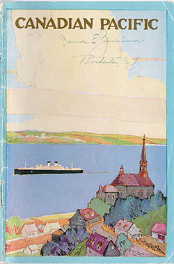 Front Cover, SS Corsican Passenger List - 24 June 1922