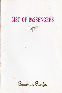 Front Cover, SS Duchess of Bedford Cabin and Tourist Passenger List - 19 August 1938.