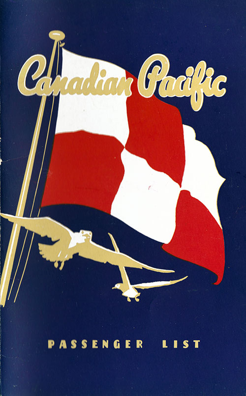 Front Cover, Canadian Pacific (CPOS) SS Empress of Canada First Class - Tourist Passenger List - 31 July 1951.