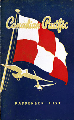 Front Cover, Canadian Pacific (CPOS) SS Empress of Canada First Class Passenger List - 21 August 1951.