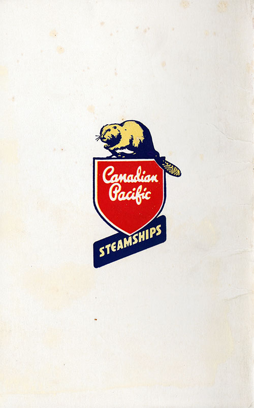 Back Cover, Canadian Pacific (CPOS) SS Empress of Canada First Class Passenger List - 21 August 1951.