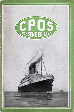 Passenger Manifest, Canadian Pacific S.S. Empress of France - 1920 - Front Cover