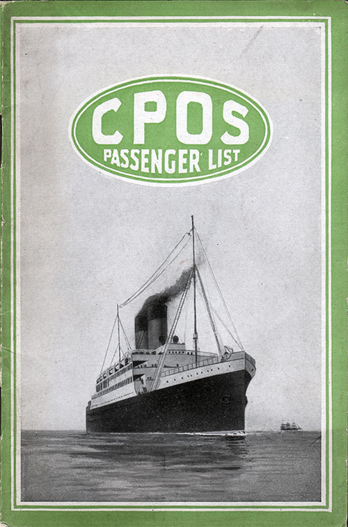 Front Cover, SS Empress of France Passenger List 28 July 1920