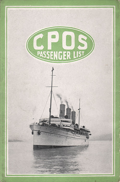 Back Cover, S.S. Empress of France Passenger List 28 July 1920