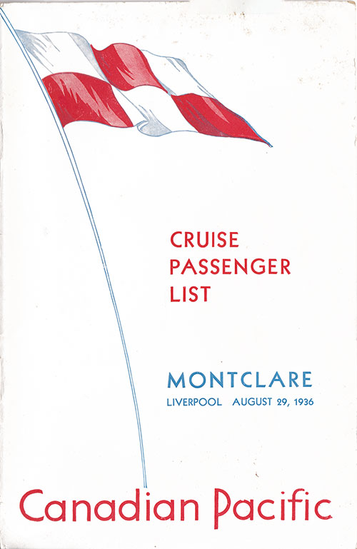 Front Cover, SS Montclare Passenger List - 29 August 1936