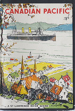 Front Cover, SS Montrose Passenger List - 15 October 1932