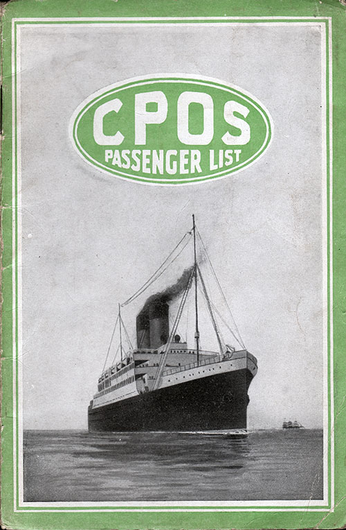 Front Cover, S.S. Victorian Passenger List 8 May 1920