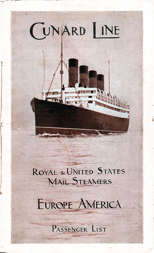 Front Cover, S.S. Aquitania Passenger List 11 July 1914