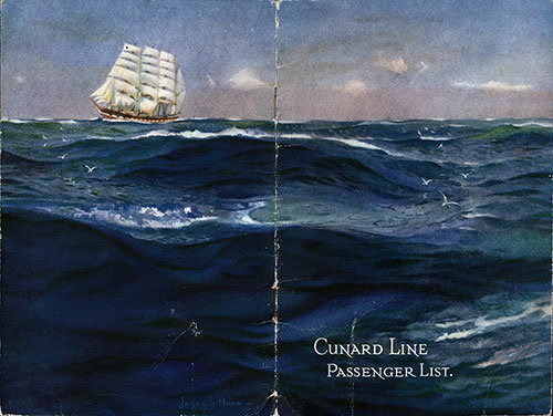 Cover of S.S. Aquitania Passenger List 12 August 1922