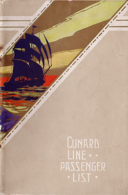 Front Cover, Cunard RMS Aquitania Saloon Passenger List - 26 July 1924.