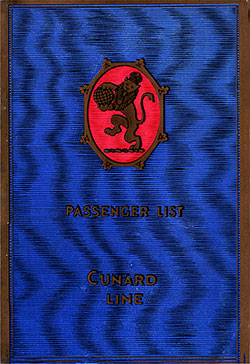 Front Cover, Cunard Line RMS Aquitania First Class Passenger List - 18 May 1929.