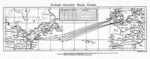 Cunard Atlantic Track Chart - 18 May 1929.