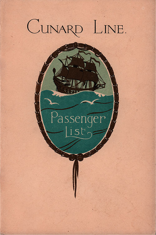 Front Cover, Cunard Line RMS Aquitania Tourist Third Cabin Passenger List - 29 January 1930.