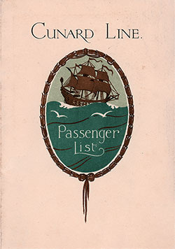 Front Cover, Cunard Line RMS Ascania Tourist Third Cabin Passenger List - 12 July 1930.