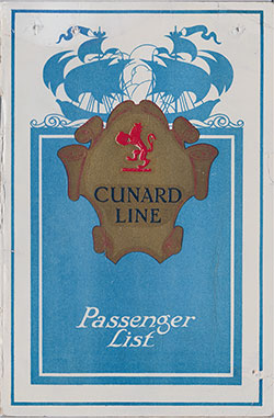 Front Cover, Cunard RMS Berengaria Saloon and Second Class Passenger List - 5 May 1923.