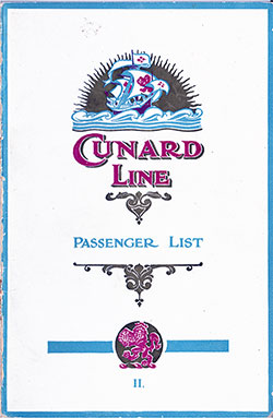 Front Cover, Cunard RMS Berengaria Second Class Passenger List - 25 August 1923.