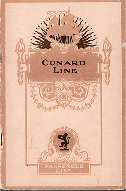 Front Cover, Cunard Line RMS Berengaria Second Class Passenger List - 20 March 1929.