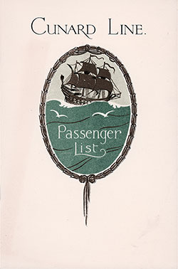Front Cover, Cunard Line RMS Berengaria Tourist Third Cabin Passenger List - 7 September 1929.