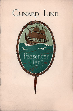 Front Cover, Cunard Line RMS Berengaria Tourist Third Cabin Passenger List - 16 August 1930.