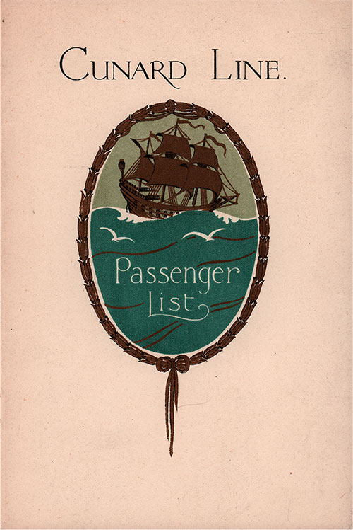 Front Cover, Cunard Line RMS Carmania Tourist Third Cabin Passenger List - 30 August 1930.
