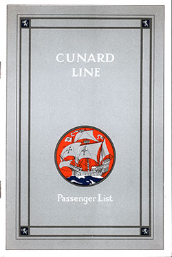 Front Cover, Cunard Line RMS Carmania Cabin Class Passenger List - 25 October 1930.