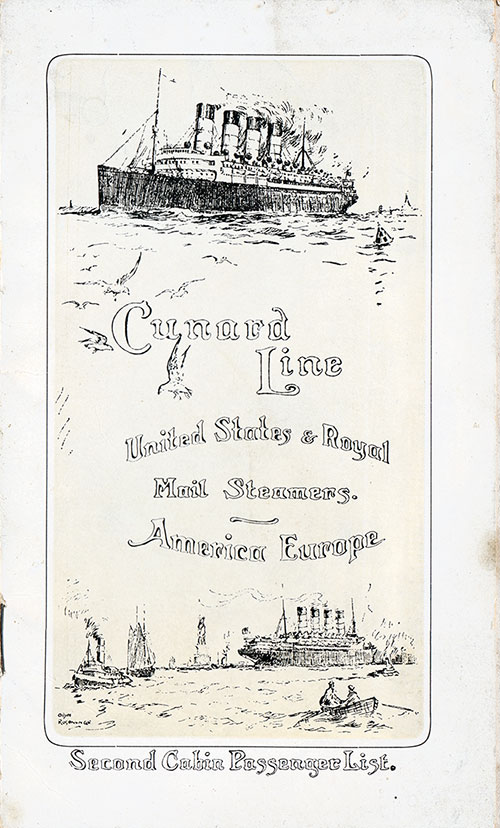 Front Cover, Cunard SS Caronia Second Cabin Passenger List - 29 July 1911.