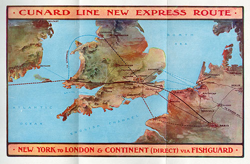 Map of Cunard Line Express Route.
