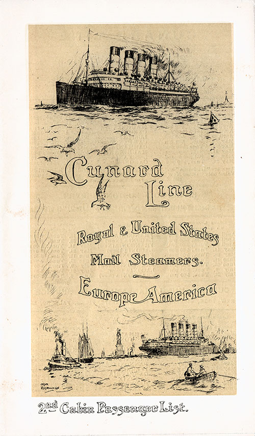Front Cover, Cunard SS Caronia Second Cabin Passenger List - 30 March 1912.