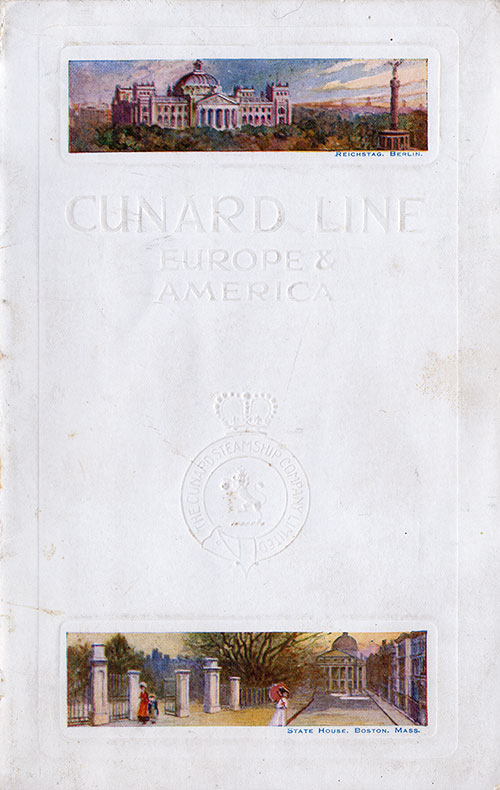 Front Cover, Cunard RMS Caronia Passenger List - 2 November 1912