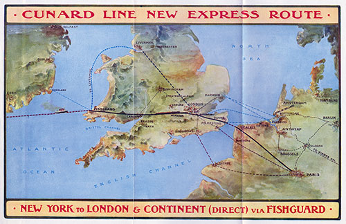 Map of the Cunard Line Express Route - New York to London and Continent (Direct) via Fishguard.