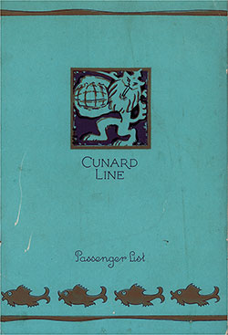 Front Cover, Cunard Line RMS Caronia Cabin and Tourist Class Passenger List - 12 September 1931.