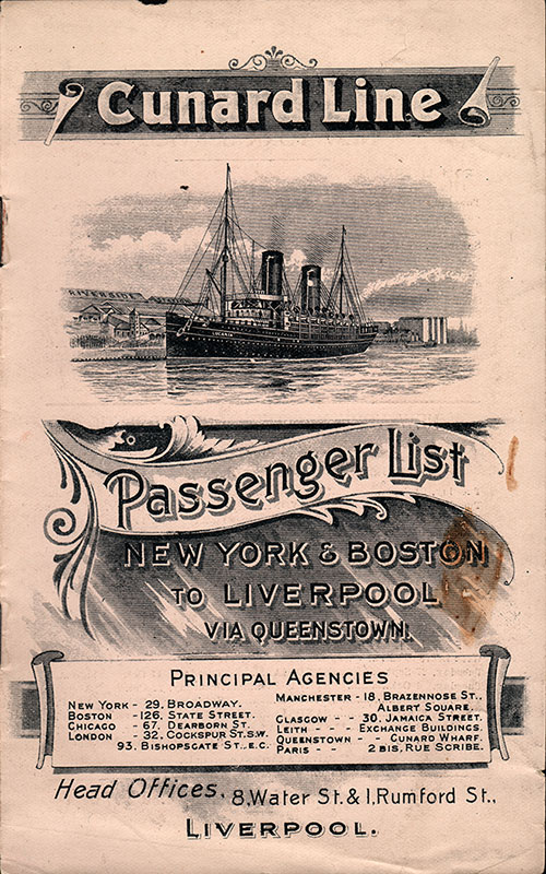 Passenger List, Cunard Line R.M.S. Carpathia, 1904, New York to Liverpool