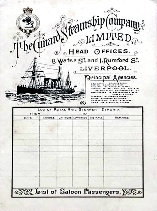 Front Cover of a Saloon Passenger List from the RMS Etruria of the Cunard Line, Departing 1 April 1898 from New York to Liverpool.