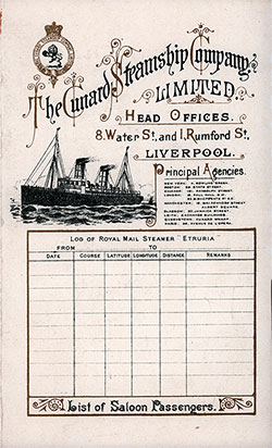 Saloon Passenger Manifest, SS. Etruria of the Cunard Line - April 1898