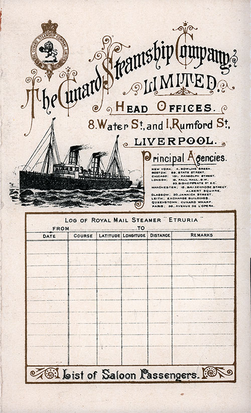 Front Cover to a Saloon Passenger List for the RMS Etruria of the Cunard Line, Departing Saturday, 30 April 1898 from Liverpool to New York.