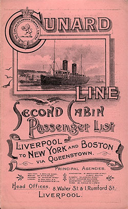 Front Cover of a Second Cabin Passenger List for the RMS Etruria of the Cunard Line, Departing Saturday, 27 August 1898 from Liverpool for New York