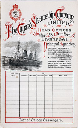 Passenger List, Cunard Line RMS Ivernia, 1901, Liverpool to Boston
