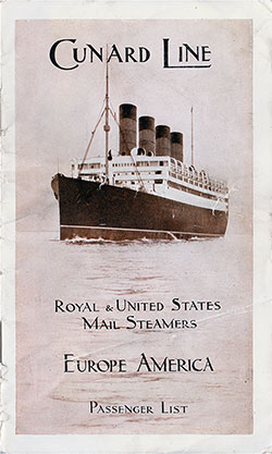Front Cover, Cunard RMS Laconia Second Cabin Passenger List - 1 September 1914.