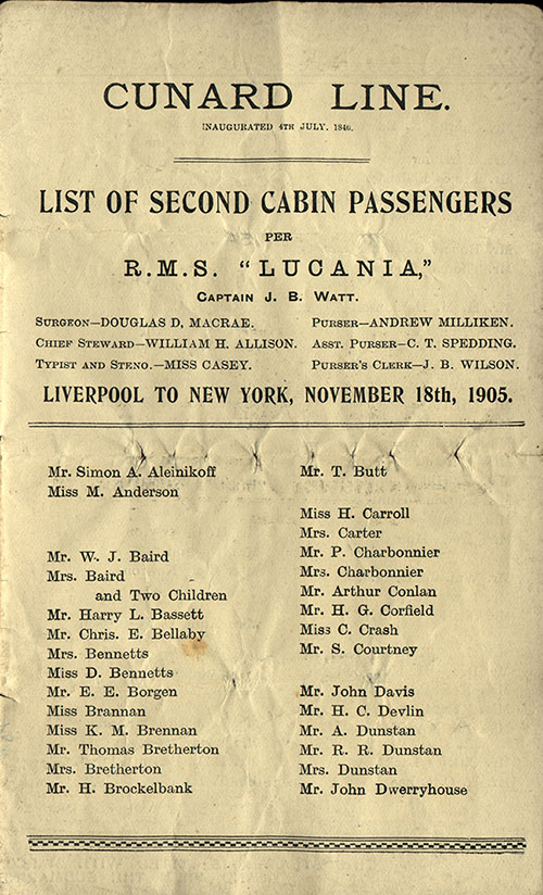 Passenger List, Cunard Line R.M.S. Lucania, 1905, Liverpool to New York
