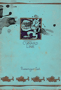 Front Cover, Cunard Line RMS Mauretania First Class Passenger List - 2 August 1930.