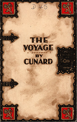 Front Cover, Cunard Line RMS Mauretania First Class Passenger List - 6 April 1932.