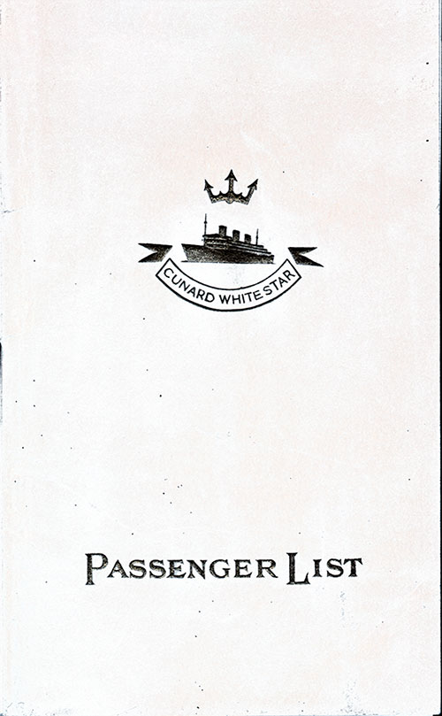Front Cover, Cunard Line RMS Queen Mary Third Class Passenger List - 12 July 1939.