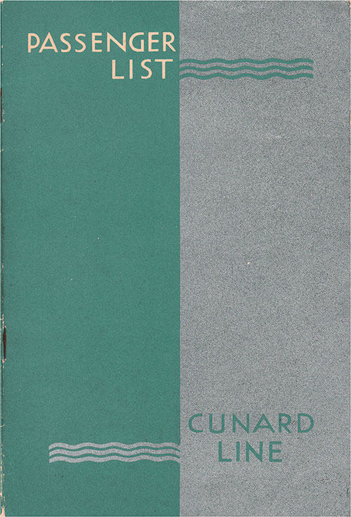 Front Cover, Cunard Line RMS Queen Mary Tourist Passenger List - 7 October 1950.