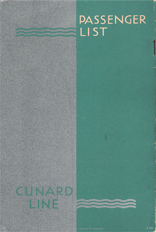 Back Cover, Cunard Line RMS Queen Mary Tourist Passenger List - 7 October 1950.