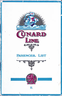 Front Cover, Cunard RMS Samaria Second Class Passenger List - 26 July 1923.